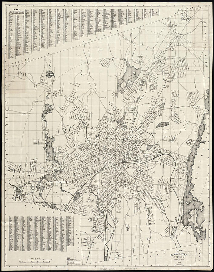 Vintage Map Of Worcester Massachusetts - 1919 Drawing