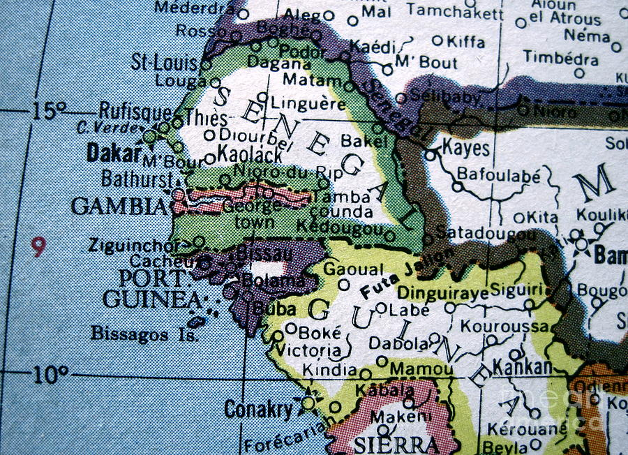 Map Of Africa Senegal.Vintage Map West Africa Senegal Gambia Guinea By Camryn Zee Photography