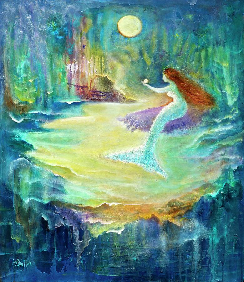 Mermaid Painting - Vintage Mermaid Love Found by Lily Nava-Nicholson