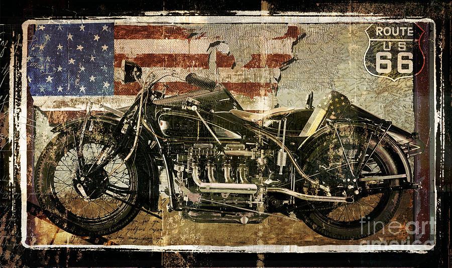 Vintage Motorcycle Unbound Painting