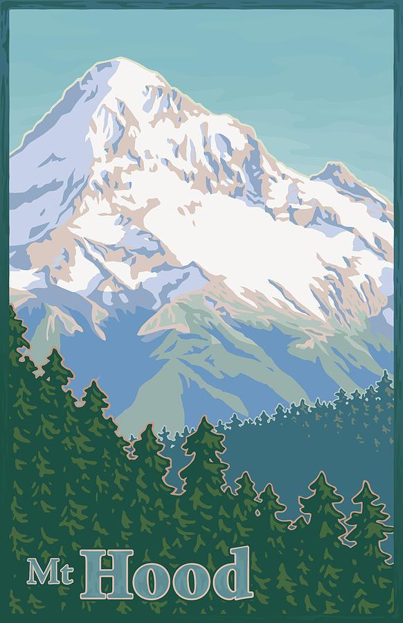 Vintage Mount Hood Travel Poster Digital Art By Mitch Frey