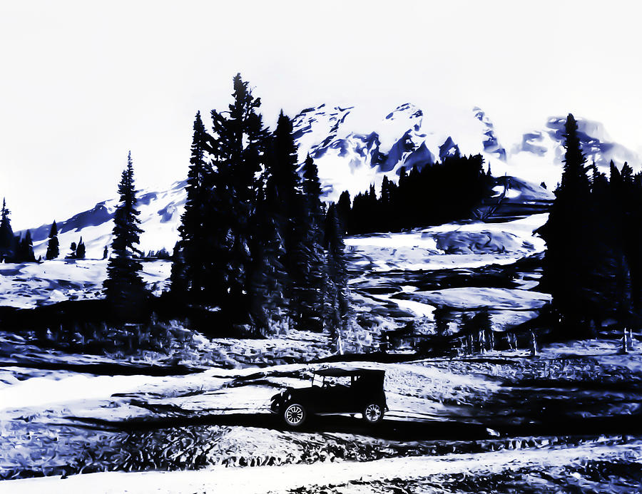 Transportation Photograph - Vintage Mount Rainier With Antique Car Early 1900 Era... by Eddie Eastwood