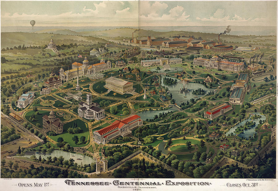 Vintage Nashville Centennial Park Map - 1897 Drawing by ... on