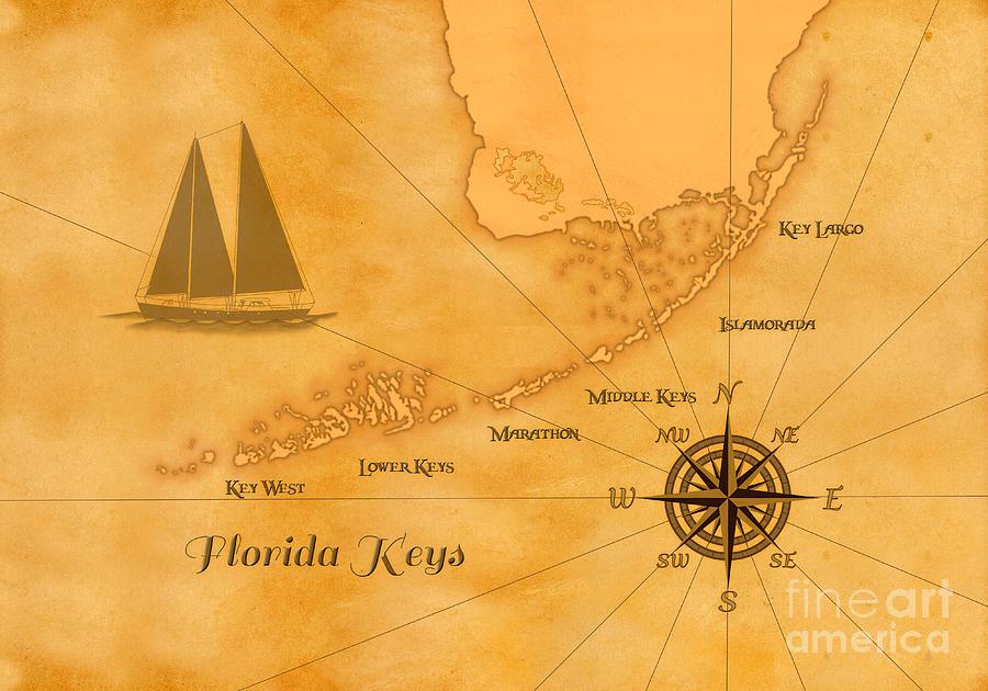 Florida Keys Map.Vintage Nautical Florida Keys Map Digital Art By Chris Macdonald