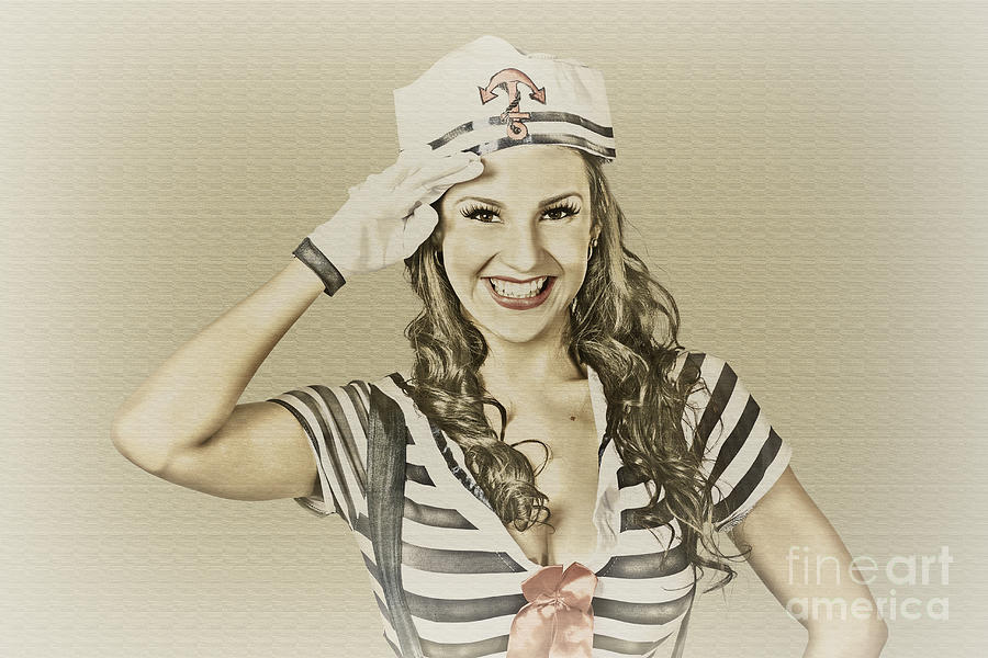 Vintage Navy Sailor Pin Up Girl Photograph by Jorgo Photography ...