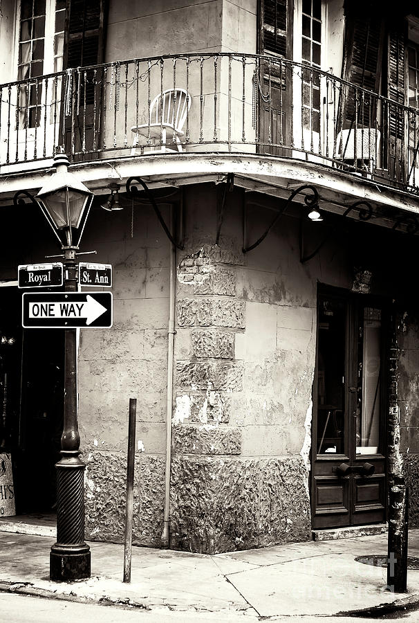 Vintage Photograph - Vintage New Orleans French Quarter by John Rizzuto