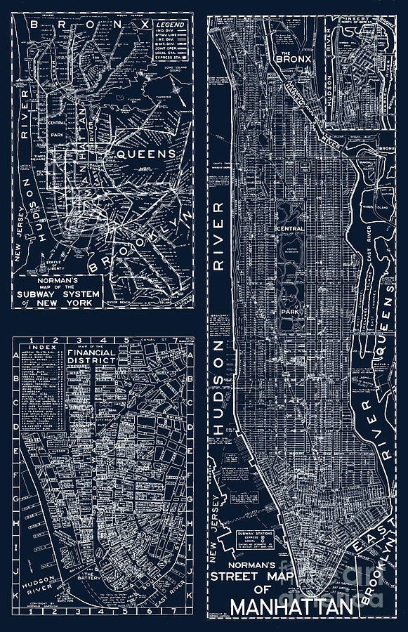 Street Map Of New York City.Vintage New York City Street Map Painting By Mindy Sommers