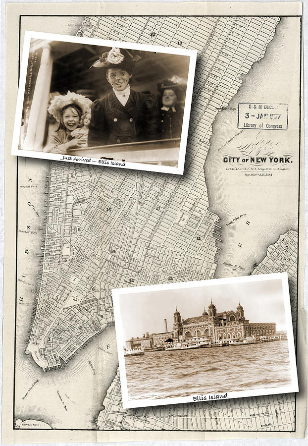 Map Photograph - Vintage New York Map with Ellis Island by Karla Beatty