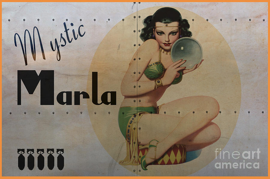 Noseart Digital Art - Vintage Nose Art Mystic Marla by Cinema Photography