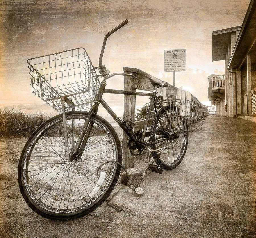 Clouds Photograph - Vintage Ol Bike by Debra and Dave Vanderlaan