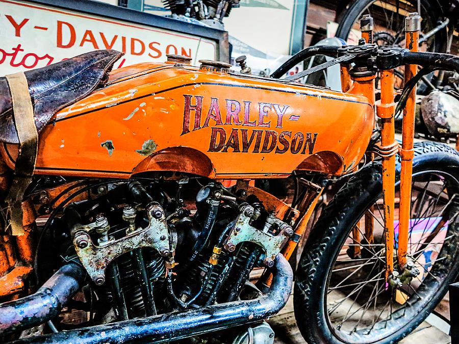 vintage orange harley davidson photographjim pruett