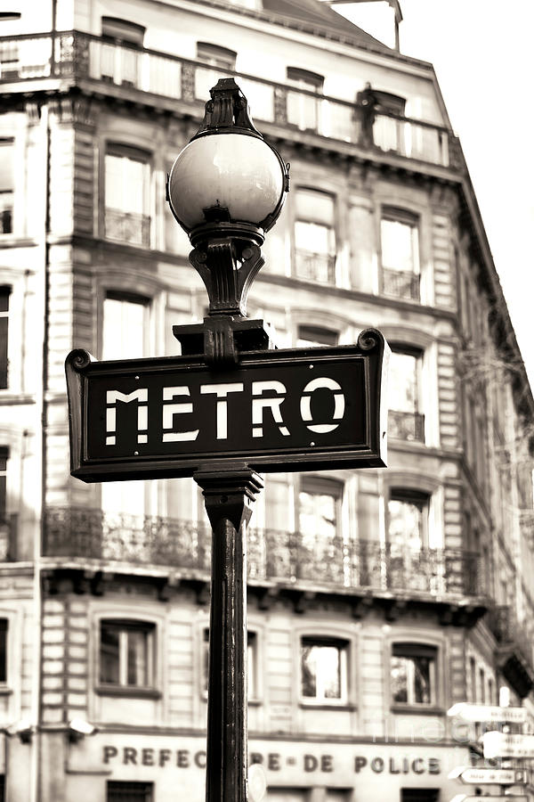 Metro Photograph - Vintage Paris Metro by John Rizzuto