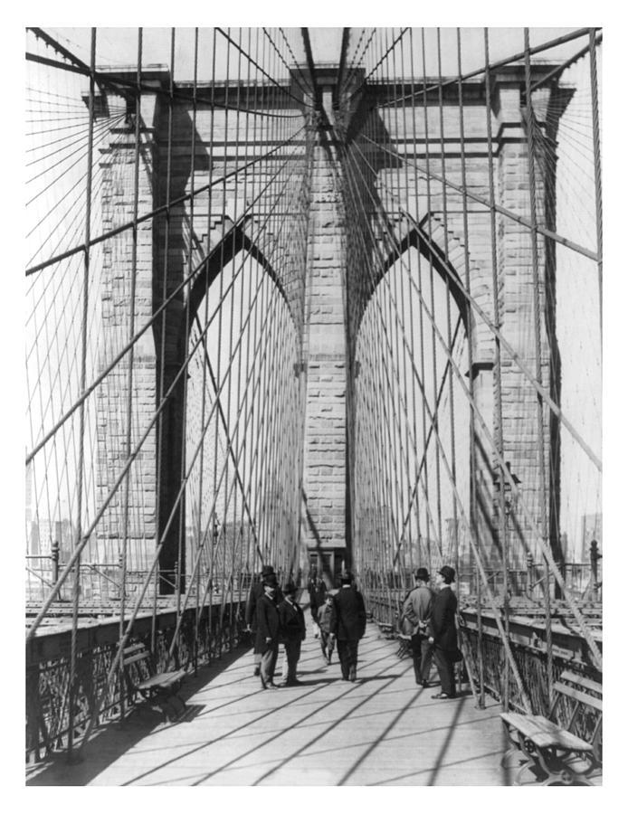 Vintage Photograph - Vintage Photo Brooklyn Bridge by Karla Beatty