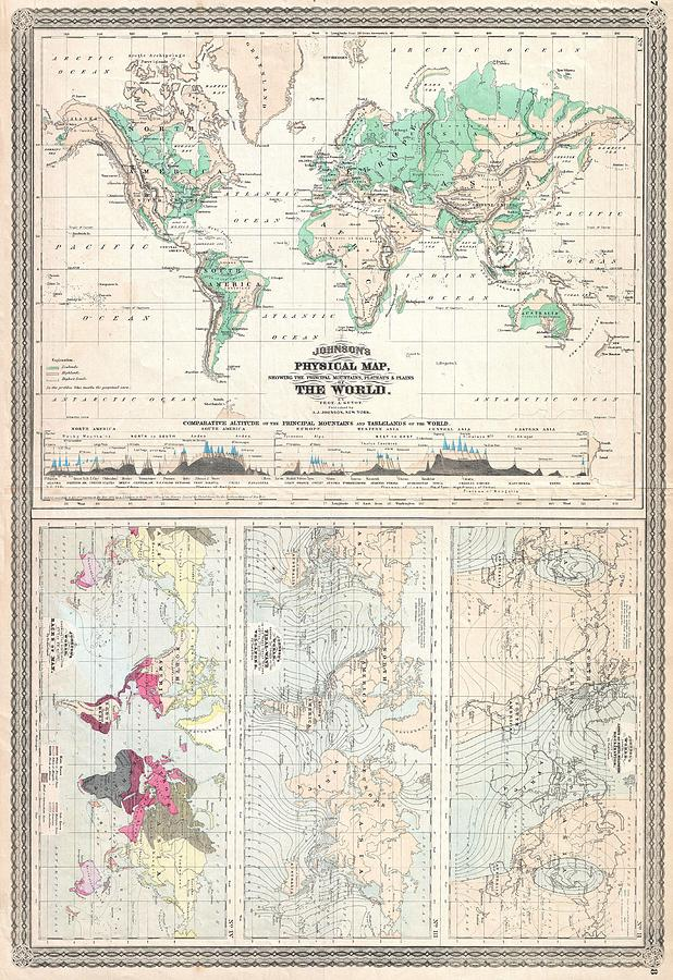 Vintage physical and climate map of the world 1870 drawing by world drawing vintage physical and climate map of the world 1870 by cartographyassociates gumiabroncs Image collections