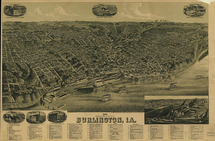 Vintage Pictorial Map Of Burlington Iowa Drawing By - Vintage iowa map