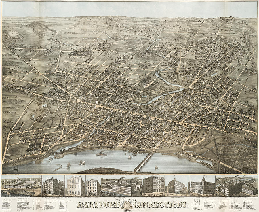 Vintage Pictorial Map Of Hartford Ct - 1877 Drawing by ...