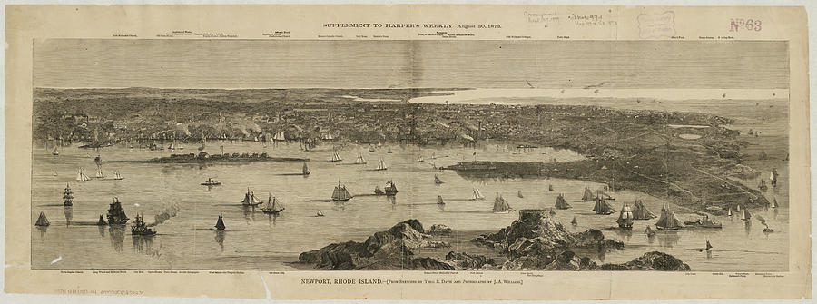 Vintage Pictorial Map Of Newport Ri - 1873 Drawing