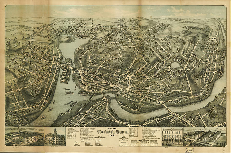 Vintage Pictorial Map Of Norwich Ct - 1876 Drawing