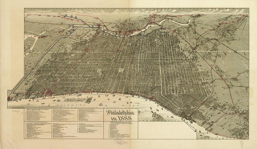 Vintage Pictorial Map Of Philadelphia Pa - 1888
