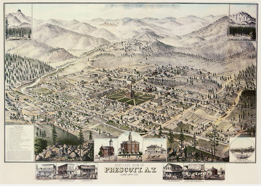 Vintage Pictorial Map Of Prescott Arizona 1885 Drawing By