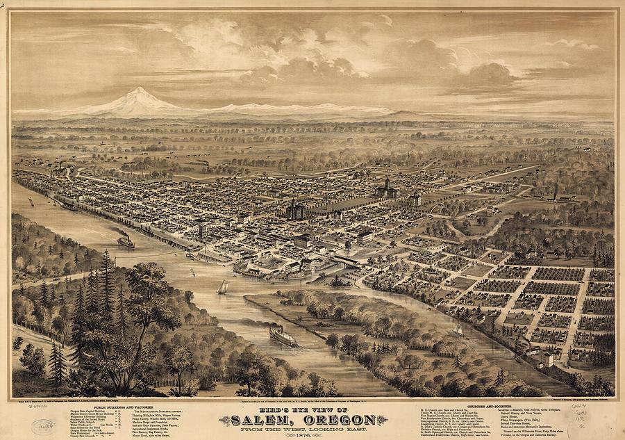 Vintage Oregon Map.Vintage Pictorial Map Of Salem Oregon 1876 Drawing By