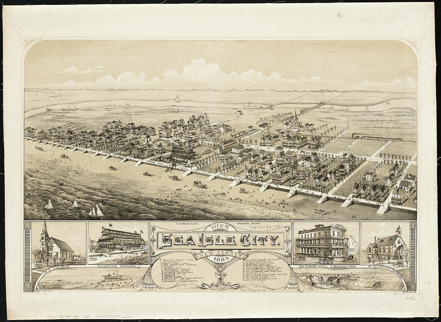 Vintage Pictorial Map Of Sea Isle City Nj - 1885 Drawing