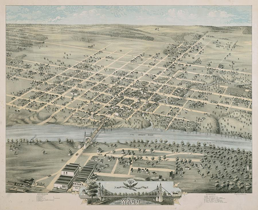 Vintage Pictorial Map Of Waco Texas - 1873 Drawing