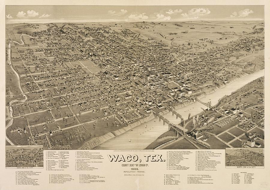 Vintage Pictorial Map Of Waco Texas - 1886 Drawing