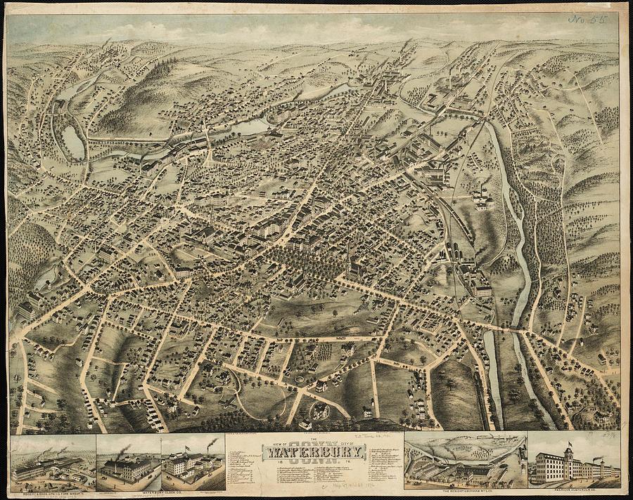 Vintage Pictorial Map Of Waterbury Ct - 1876 Drawing by ...