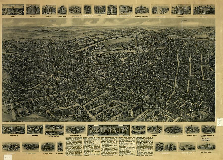 Vintage Pictorial Map Of Waterbury Ct - 1917 Drawing