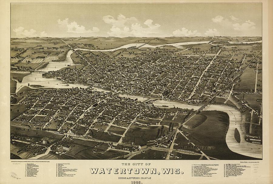 Vintage Pictorial Map Of Watertown Wi - 1885 Drawing