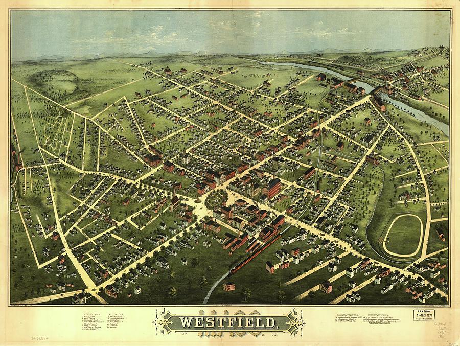 Vintage Pictorial Map Of Westfield Nj - 1875 Drawing