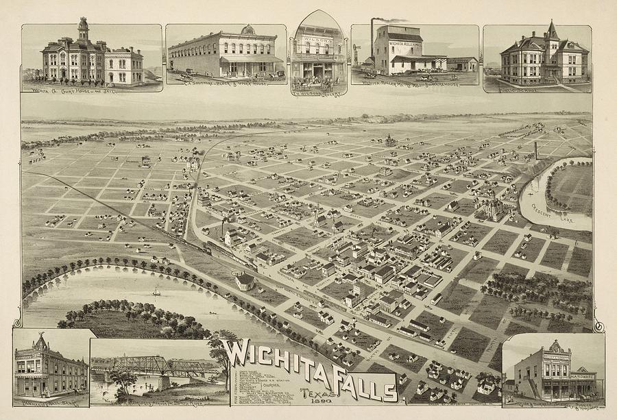 Vintage Pictorial Map Of Wichita Falls Tx - 1890 Drawing