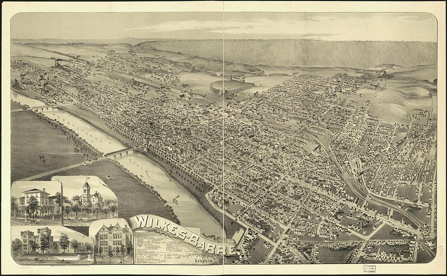 Vintage Pictorial Map Of Wilkes-barre Pa - 1889 Drawing