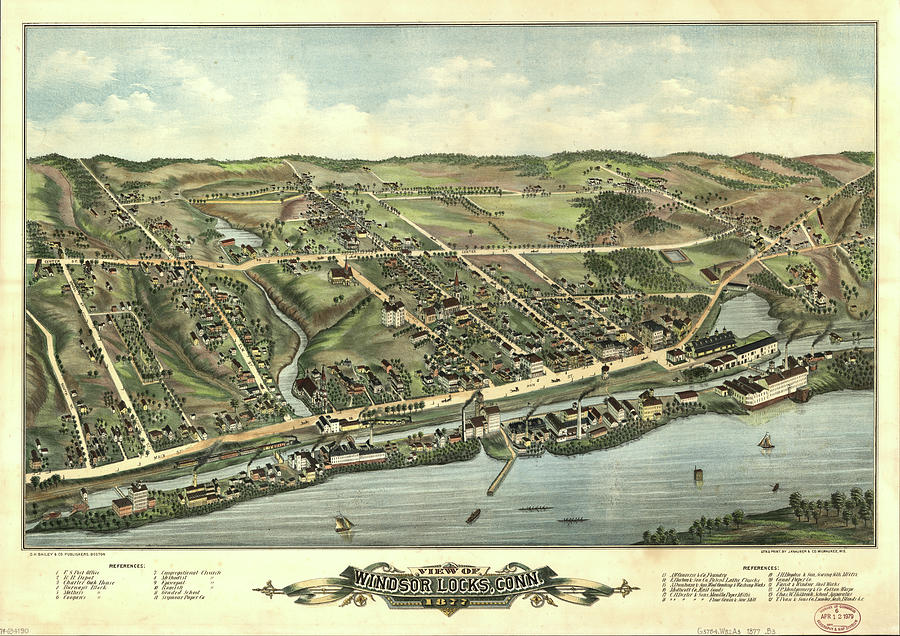 Vintage Pictorial Map Of Windsor Locks Ct - 1877 Drawing