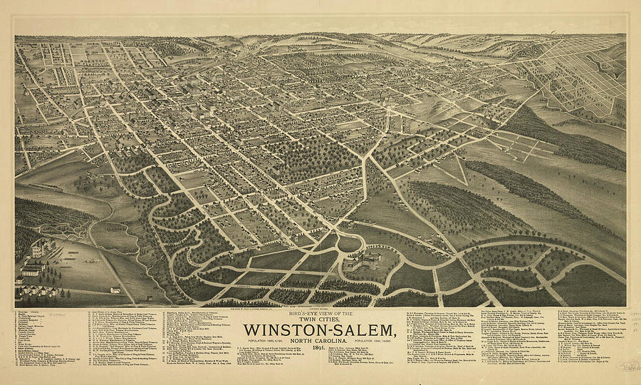 Vintage Pictorial Map Of Winston-salem Nc - 1891 Drawing