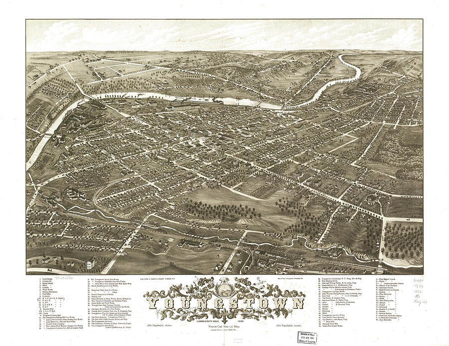 Vintage Pictorial Map Of Youngstown Ohio - 1883 Drawing