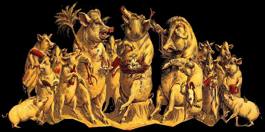 Pig Digital Art - Pig Party by Marianne Dow