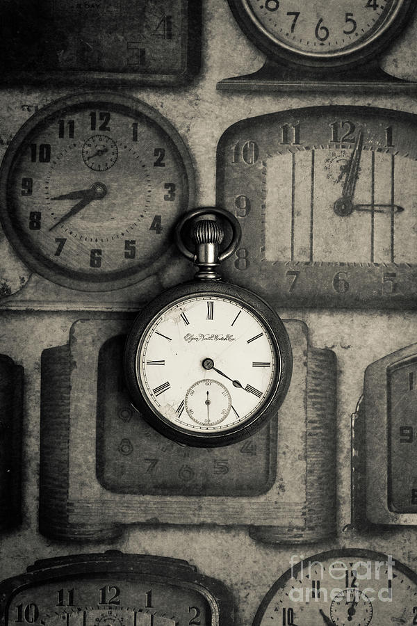 Still Life Photograph - Vintage Pocket Watch Over Old Clocks by Edward Fielding