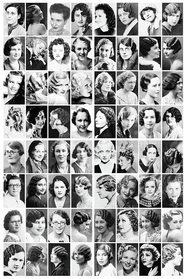 Movie Posters Photograph - Vintage Portrait Photos Depict Womens Hairstyles Of The 1930s  - Doc Braham - All Rights Reserved. by Doc Braham