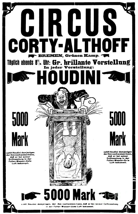 Houdini Drawing - Vintage Poster Advertising A Performance By Houdini, 1922 by German School
