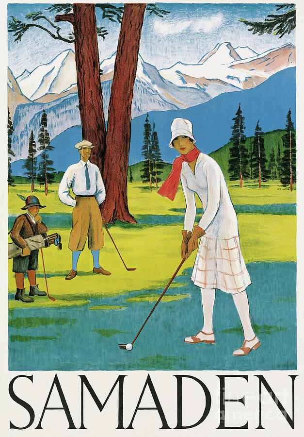 Playing Golf Painting - Vintage Poster Advertising Samaden In Switzerland by Swiss School
