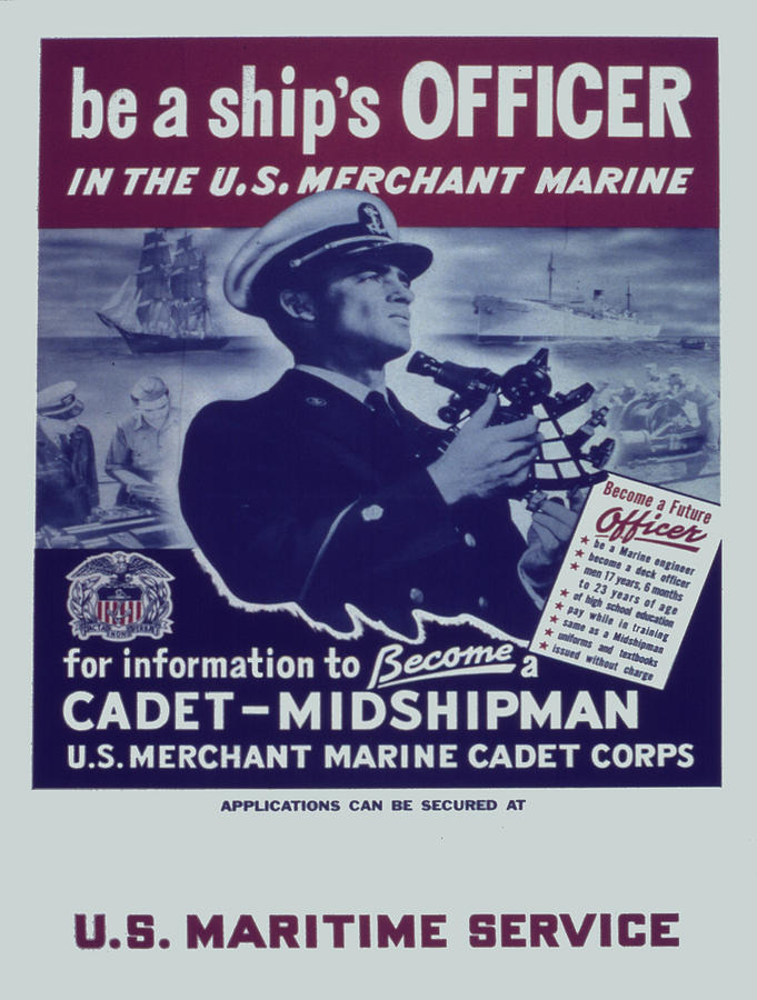 Advertisement Painting - Vintage poster - Be a Ships Officer by Vintage Images