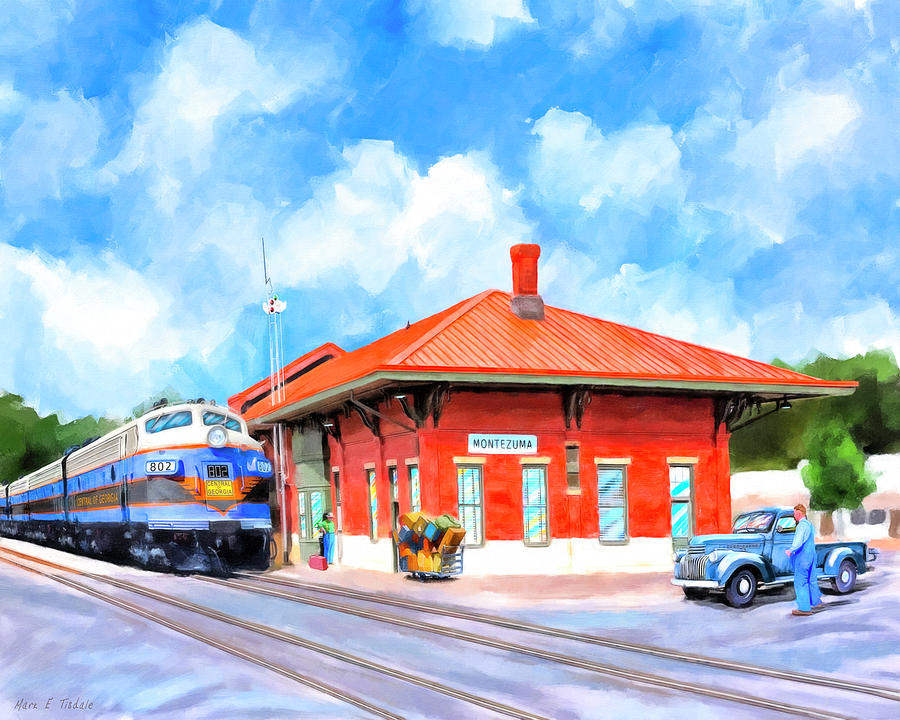 Georgia Painting - Echoes Of Railroads Past - Central Of Georgia Depot by Mark Tisdale