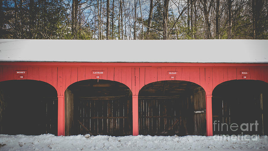 Lyme Photograph - Vintage Red Carriage Barn Lyme by Edward Fielding