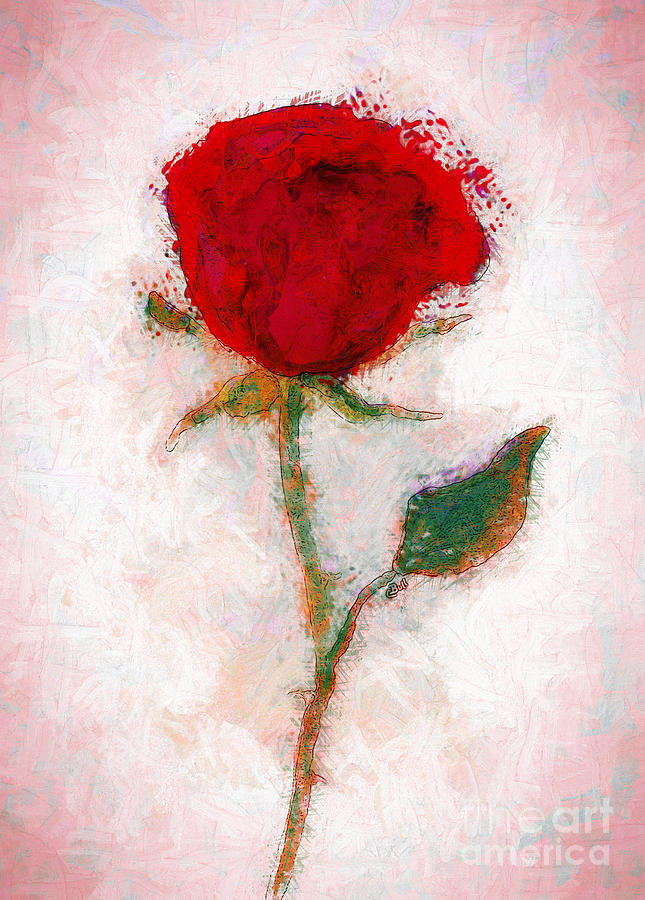 Rose Painting - Vintage Red Rose  by Claire Bull