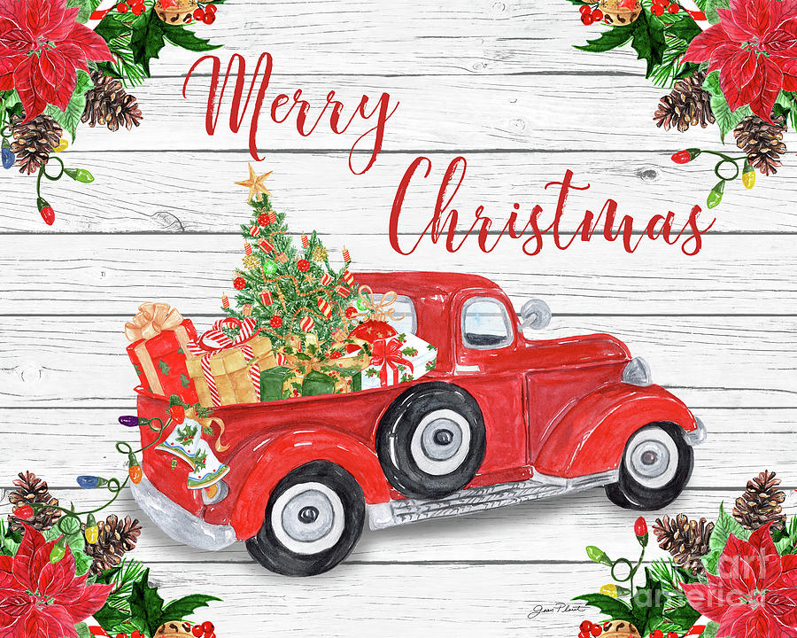Vintage Red Truck Christmas Decor.Vintage Red Truck Christmas A