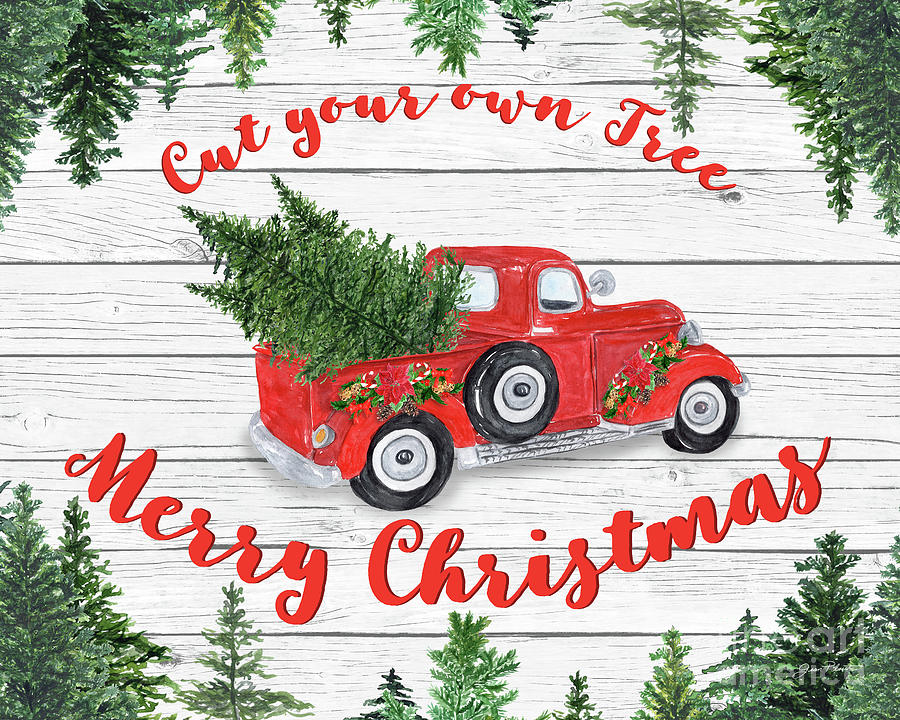 Vintage Red Truck Christmas Decor.Vintage Red Truck Christmas B