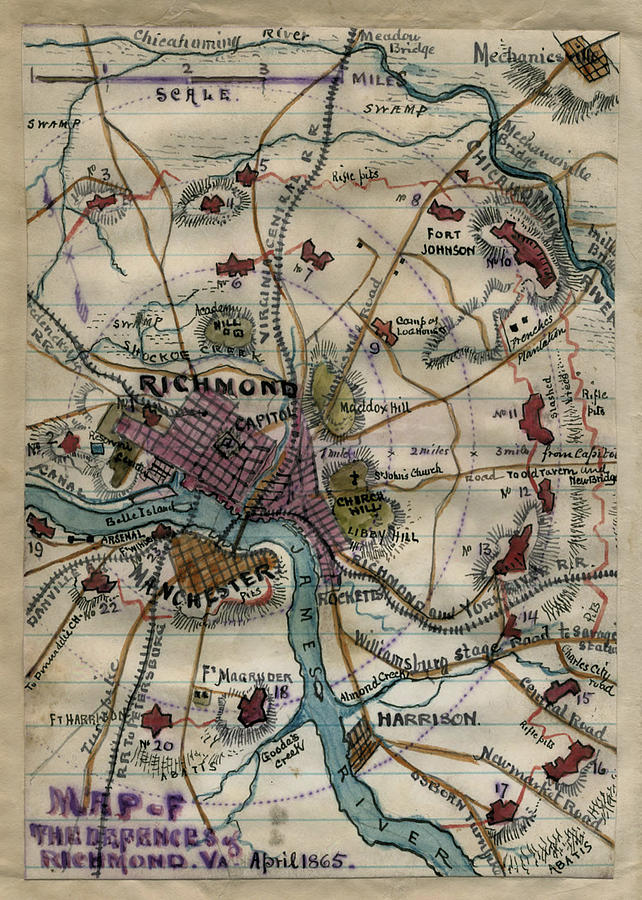Vintage Richmond Virginia Civil War Map 1865 Drawing By