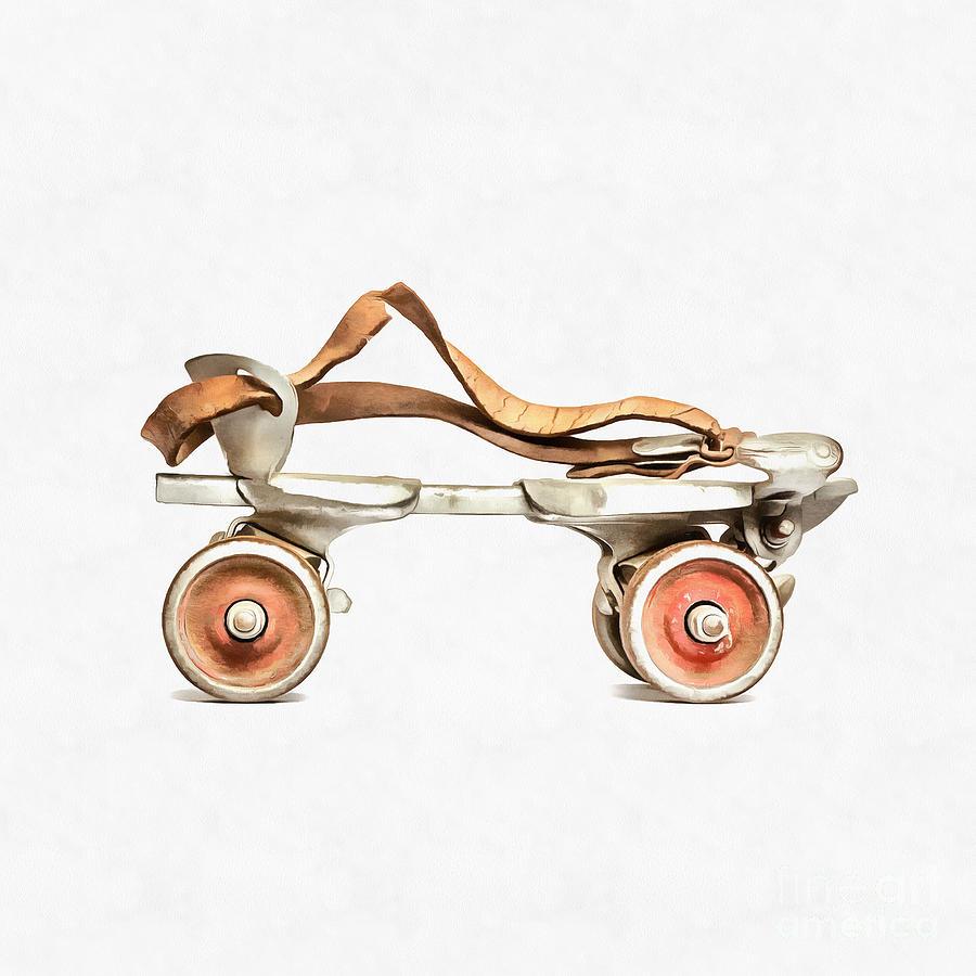 Vintage Roller Skate Painting Digital Art By Edward Fielding